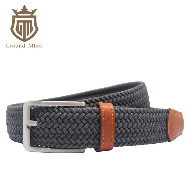 079366ece0235 New elastic woven men belts pin buckle genuine leather tip&head Casual braided  belt for jeans(Dark Grey)