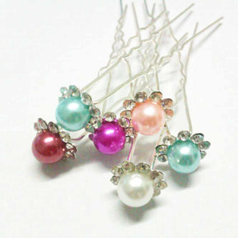 Fashion Crystal Imitation Pearl Wedding Hair Pins Bridal Flower Hairpins Bridesmaid Hair Clips Hair Accessories Women Barrettes
