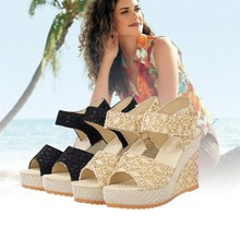 2019 Summer Sexy Lady Women Charming Lace Leather Sandals Female Open Toe Fish Head Super High Heels Wedge