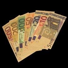 7 шт./компл. Цвет Банкноты евро комплекты 5 10 20 50 100 200 500 EUR 24K Золотая фольга банкнот памятная монета домашние декорации купюр