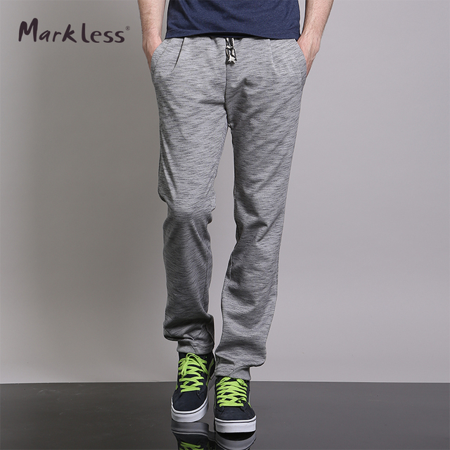Markless 2017 Spring Casual Man Thin Pants Solid Color Health Pants Loose Breathable Push-up Straight Trousers
