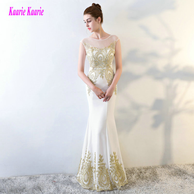 Brilliant Ivory   Prom     Dresses   Long 2019 Sexy White Formal Party Evening Gowns Scoop Elastic Satin Appliques Lace-Up   Prom     Dress