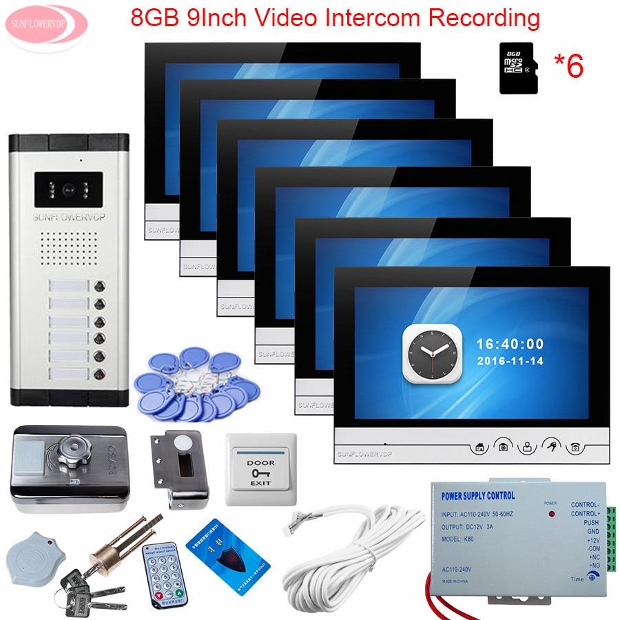 9 Video Intercom Apartment Door Phone 6 Monitors Outdoor Camera for 6 Family Rfid Door Lock Home Intercom Recording+8GB TF Card my apartment