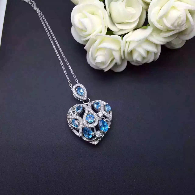 natural blue topaz stone pendant S925 silver Natural gemstone Pendant Necklace trendy heart Hydrangea women party fine jewelry