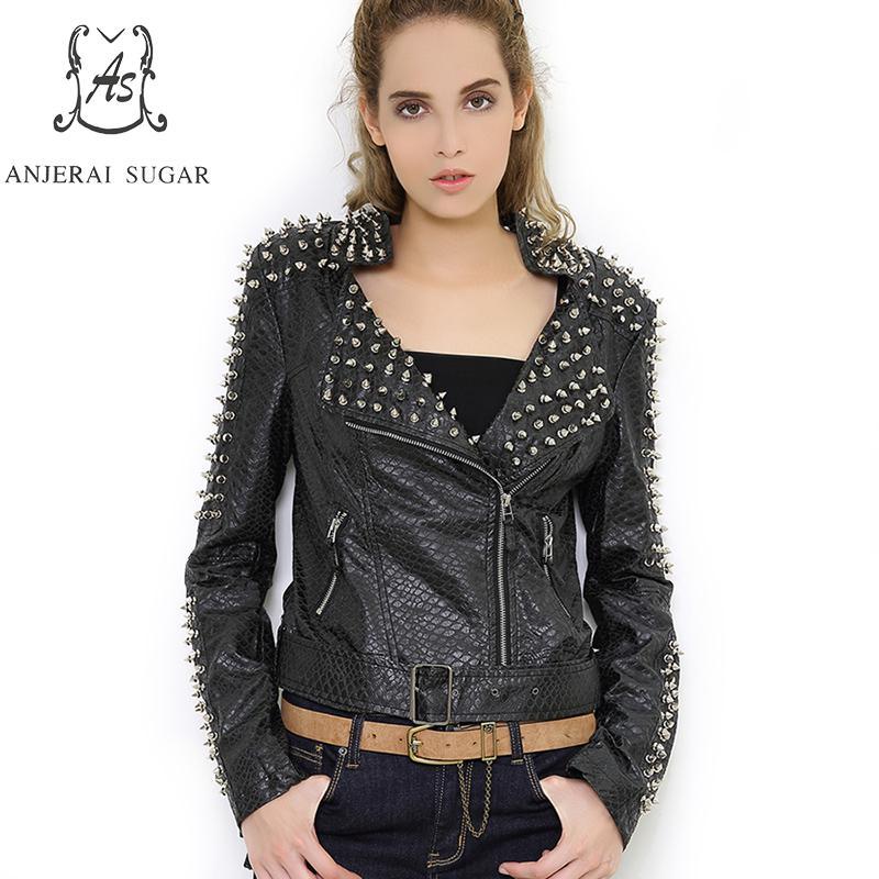 PU Leather jacket Women coat Faux Leather Black Short Slim Rivet zipper motorcycle Turn-down Collar female short rock Rivet