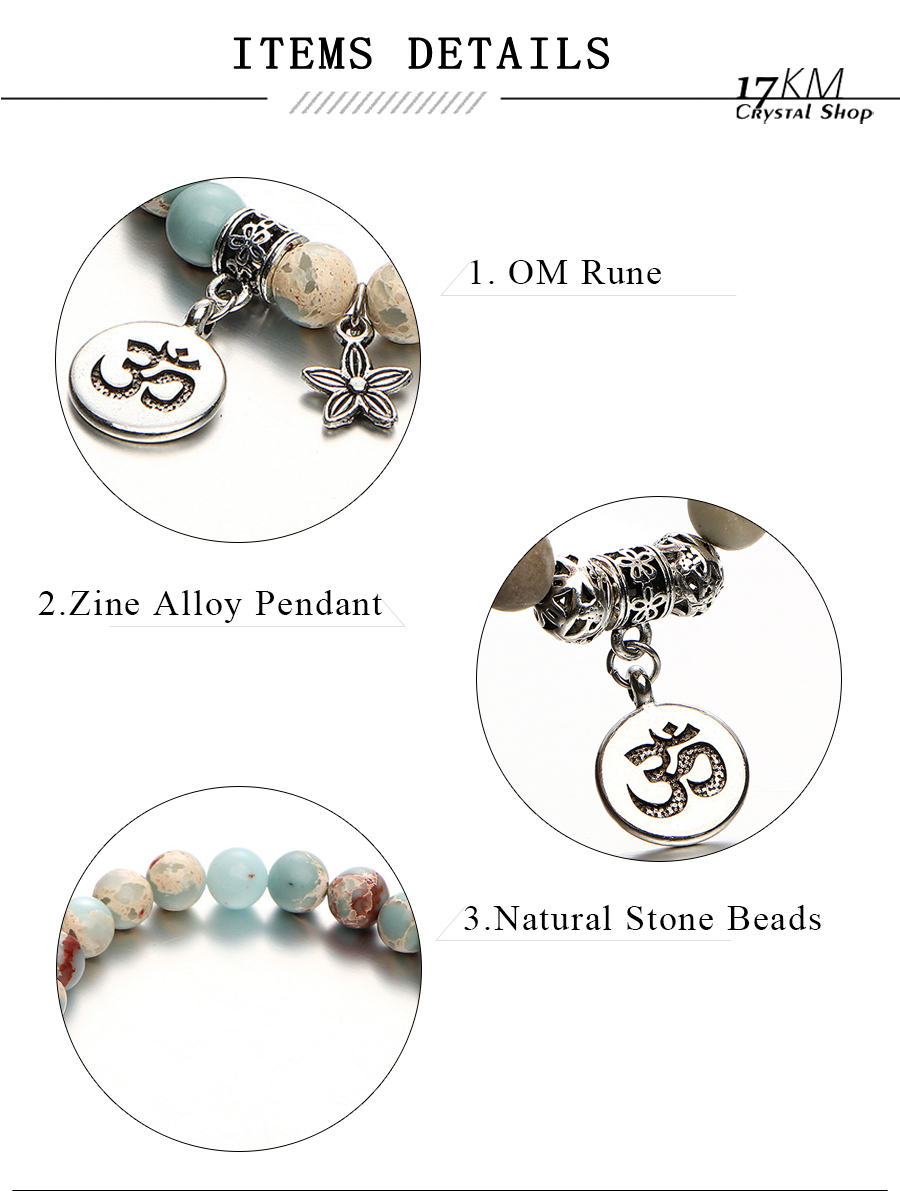 17KM Vintage OM Rune Strand Bracelets & Bangles For Women Men Natural Stone Handmade Cuff Wristband Beads Yoga Bracelet Gift New 2
