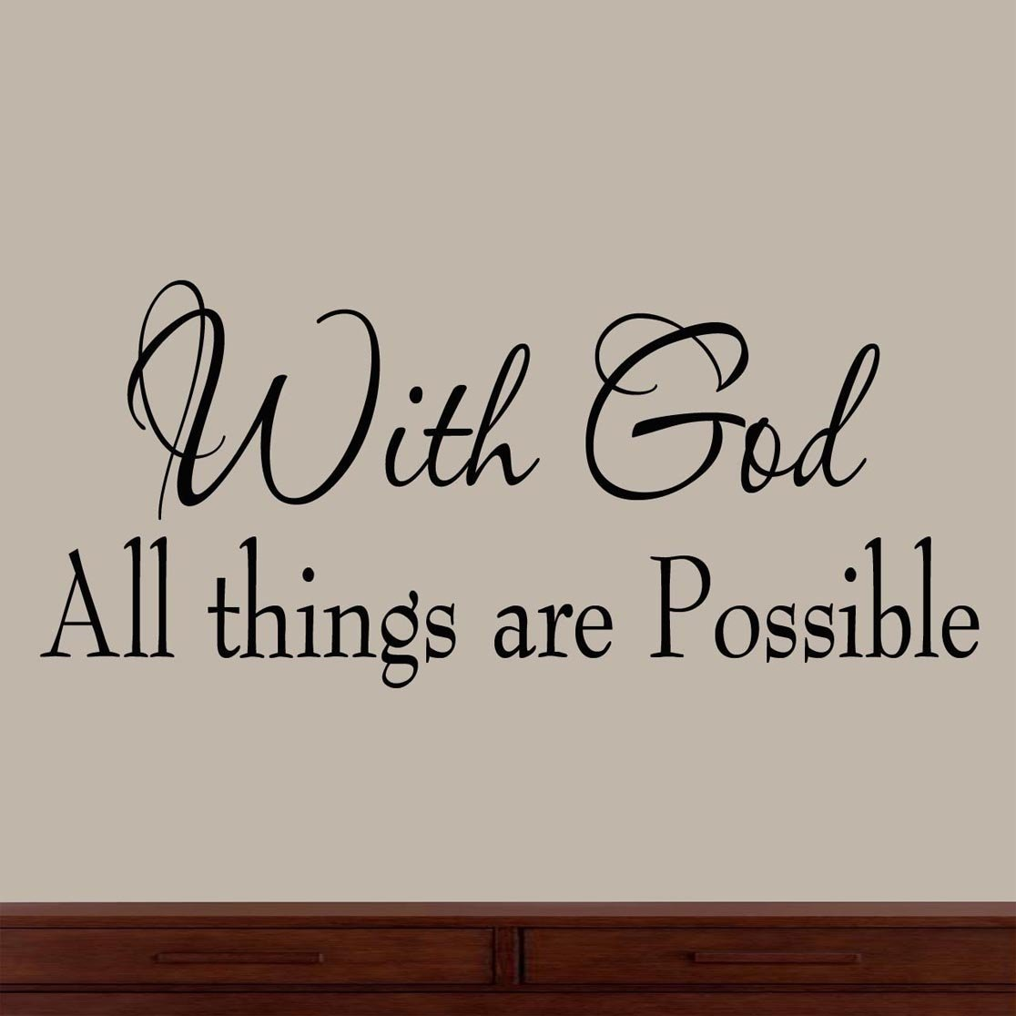 With God All Things Are Possible Faith Wall Decals Religious Quotes