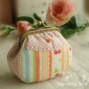 Handmade fabric material diy kit set clipping washed cotton patchwork candy mouth gold package metal frame needlework coin purse