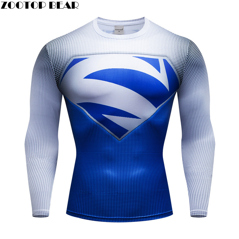 Superhero Hommes T Shirts Men Compression T-shirts Fitness Man Long Manches T-shirts Bodybuilding Top Hot Sale Cosplay