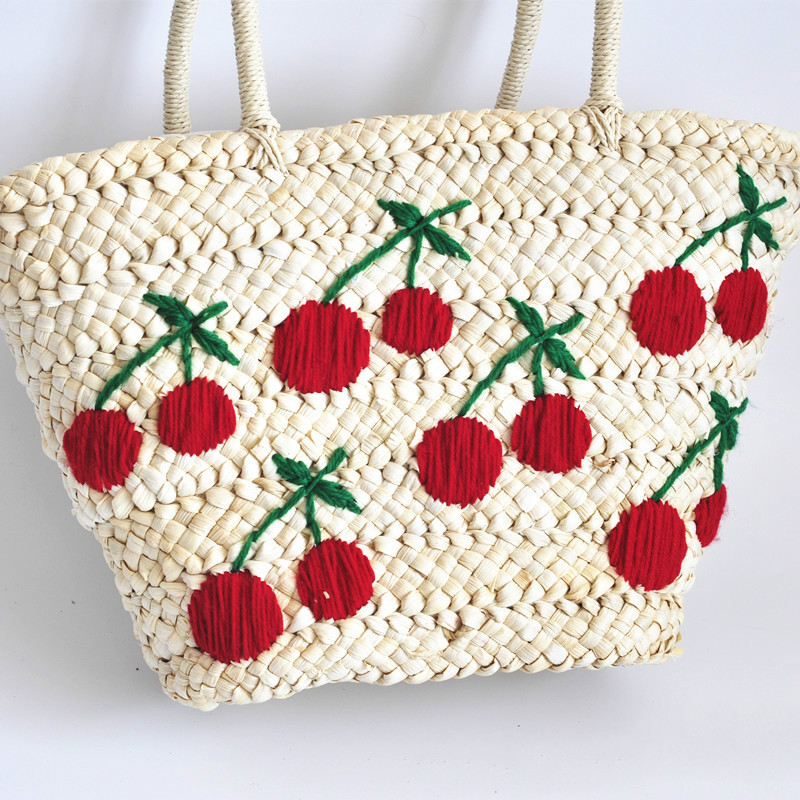Wool Embroidery Cherry Straw Corn Skin Woven Bag Large Capacity  Knitting Beach Bag Holiday Casual Rattan Grass Hobos