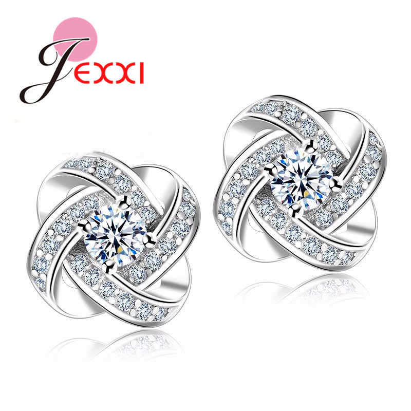 YAAMEL 925 Sterling Silver Crystal Stud Earrings For Women Fashion Luxury Cubic Zirconia Paved Wedding Earring Jewelry Accessory