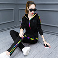 2017 Autumn New Striped 2 Piece Set Women Long Sleeve Tops and Pants Femme Hooded Casual Long Sleeve Trousers Suits