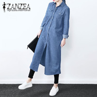 2018 ZANZEA Women Autumn Denim Blue Lapel Neck Buttons Down Long Shirts Cotton Linen Brief Blouse
