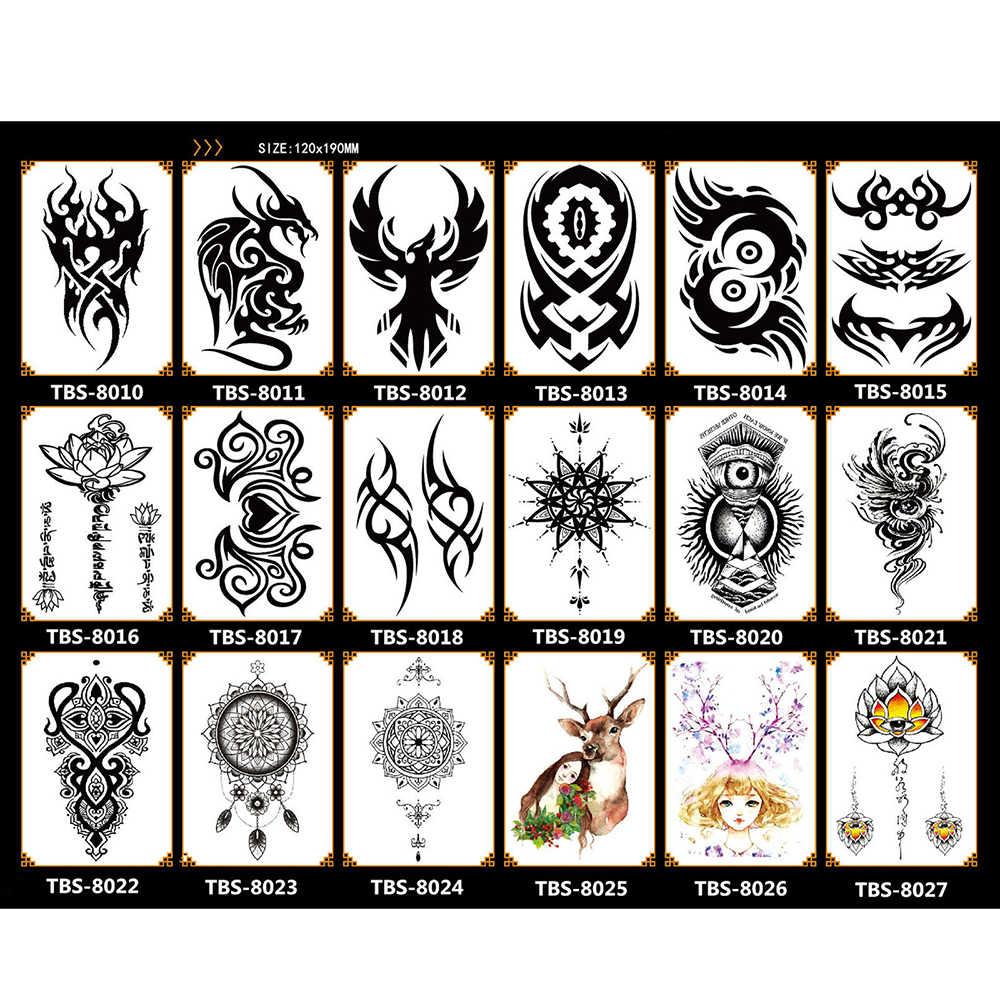 2019 Nero Caldo Del Tatuaggio Temporaneo Body Art Tatuaggi 3D Impermeabile Tatuaggi Temporanei Sticker Art Degli Uomini del Piedino Del Braccio di Falso Tatoo Carta