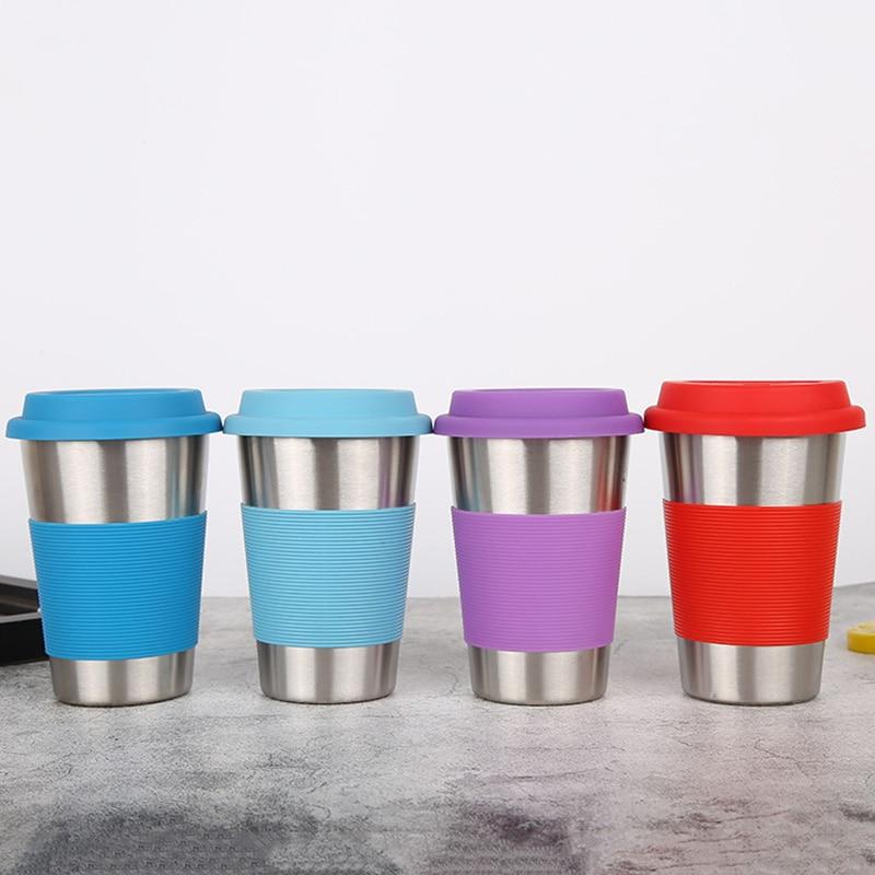 500ml Food Grade stainless steel Mug with silicone lid Travel Tumbler colorful Coffee Mug Tea Cup Birthday Gifts
