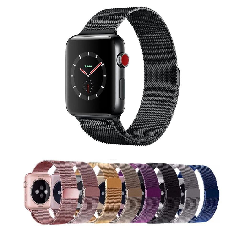 Milanese Loop para correa de reloj de Apple 42mm/38mm iwatch 3/2/1 acero inoxidable enlace pulsera Correa hebilla magnética