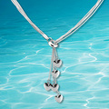 Charm Genuine Solid 925 Sterling Silver Five Starfish Chain Necklace