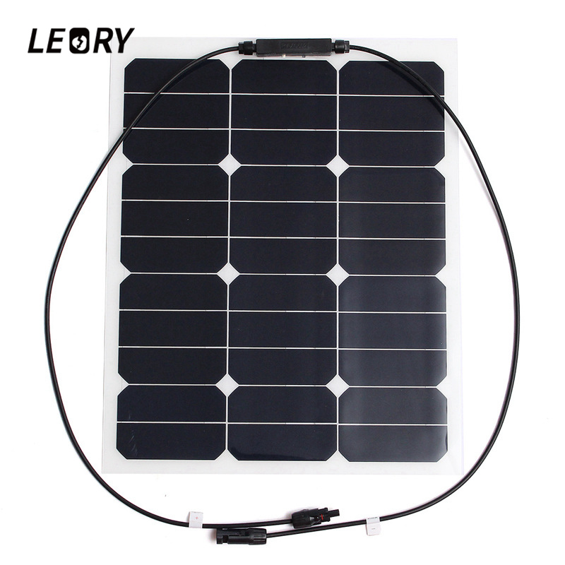 LEORY 35W 18V Solar Panels Monocrystalline Sunpower Chip Profession DIY Solar Cells For Battery Charger 12v 50w monocrystalline silicon solar panel solar battery charger sunpower panel solar free shipping solar panels 12v