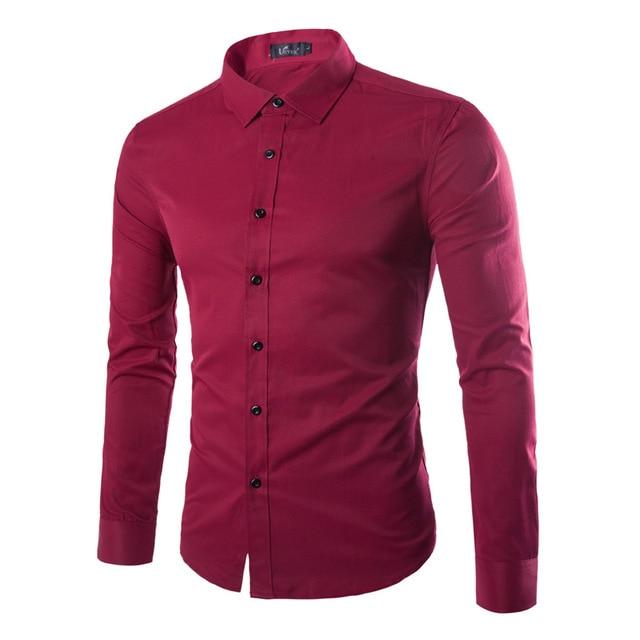 3a1a191da5 9 Cor Mens Slim Fit Camisas Vestido Manga Comprida Casual Sólidos Camisa  Social Masculina Marca Roupa