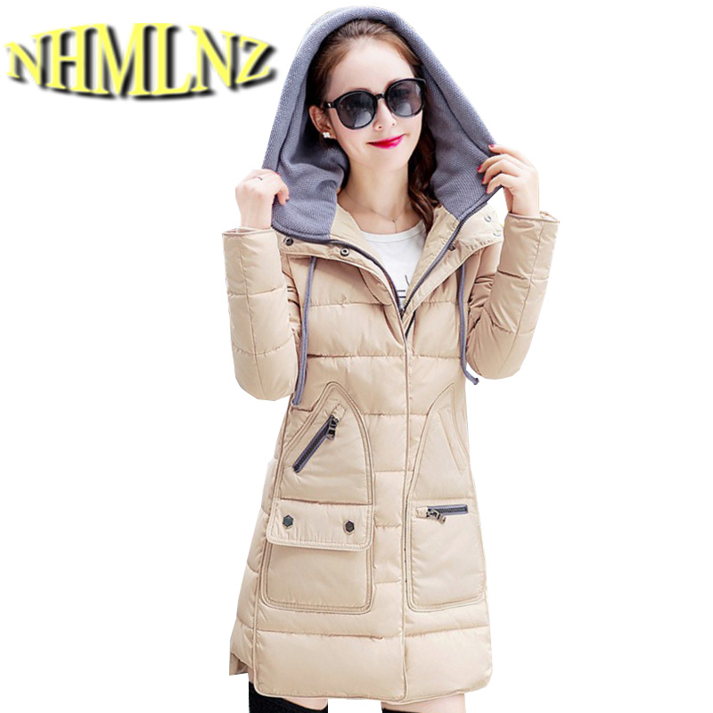 Winter New Fashion Women Coat Long sleeve Thickening Hooded Super Warm Down jacket Elegant Women Slim Big yards Loose Coat G1960 2017 new winter fashion women down jacket hooded thickening super warm medium long coat long sleeve slim big yards parkas nz131