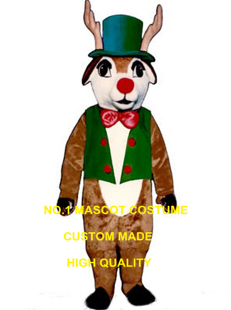 Christmas Deer mascot costume w/Vest, Hat,Bowtie new custom cartoon merry xmas reindeer rudoph deer fawn theme carnival 2792