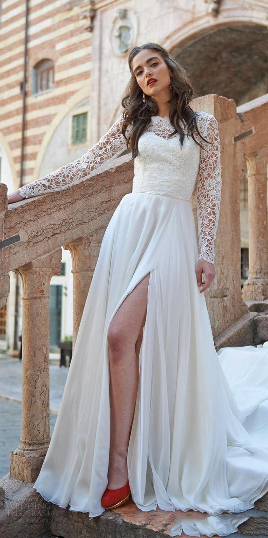 Wedding Dresses Long Sleeves Appliqued Lace 2019 High Side Split Boho Bride Dresses Floor Length bridal gown dress in Wedding Dresses from Weddings Events