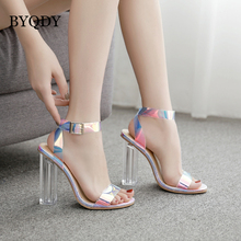 BYQDY Designer Transparent PVC Sandals Open Peeo Toe Thick High Heels Shoes Hollow Coarse Crystal Ankle Strap Plus Size