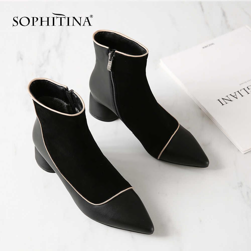 SOPHITINA Ayak Bileği Kadın Botları yüksek kalite hakiki Deri Seksi Sivri Burun Rahat Yuvarlak Topuk Ayakkabı Sıcak Satış Botları MO208