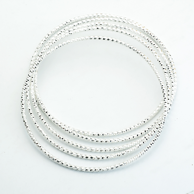 H:HYDE Nice Shipping Wholesale 5pc/lot Silver-color Fashion Exquisite Brilliant Bangle Jewelry For Women Ladies Romantic Gifts