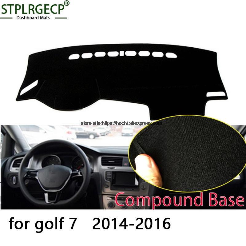 STPLRGECP double layer Black Dash Mat For Volkswagen VW golf 7 MK7 Dashmat Black Carpet Car Dashboard Automotive interior Mats stplrgecp double layer black dash mat
