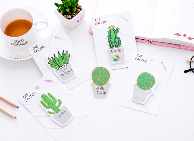 4pcs Novelty Cactus Self-Adhesive Memo Pad Sticky Notes Post It Bookmark School Office Supply papelaria