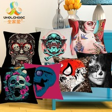 43×43 Cubierta Del Amortiguador Del Color Cráneo Suger Casos México Coulpe Funda de Almohada ropa de Cama de Textiles Para El Hogar Romántico Día de los Muertos