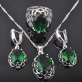 Classic Green Created Emerald Women's 925 Sterling Silver Jewelry Sets Earrings/Pendant/Necklace/Rings Free Shipping QZ012