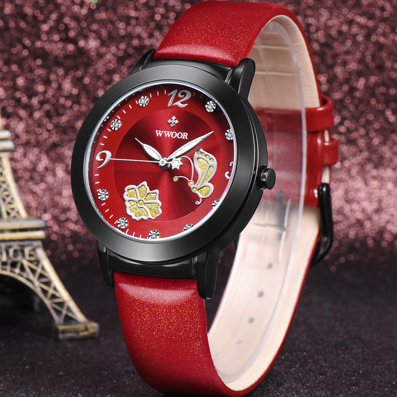 Women Watches Brand WWOOR Flower Butterfly Red Genuine Leather Relogio Feminino Dress Ladies Quartz Wrist Watch Women Clock Gift