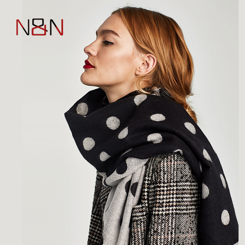 Winter luxury Brand Dot Cashmere   Scarf   Women Warm Wool Blanket   Scarf     Wrap   Women Pashmina Shawls and   Scarves   NN-CS-039