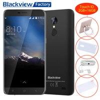 Blackview A10 Tactile ID Téléphone Portable MT6580A Quad core 2 + 16 GB Smartphone 5.0 ''HD 5MP + 8MP 2800 mAh GPS Android 7.0 3G Mobile téléphone