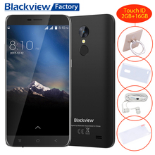 "Blackview A10 Touch ID Cellphone MT6580A Quad core  2+16GB Smartphone 5.0""HD 5MP+8MP 2800mAh GPS Android 7.0 3G Mobile phone"