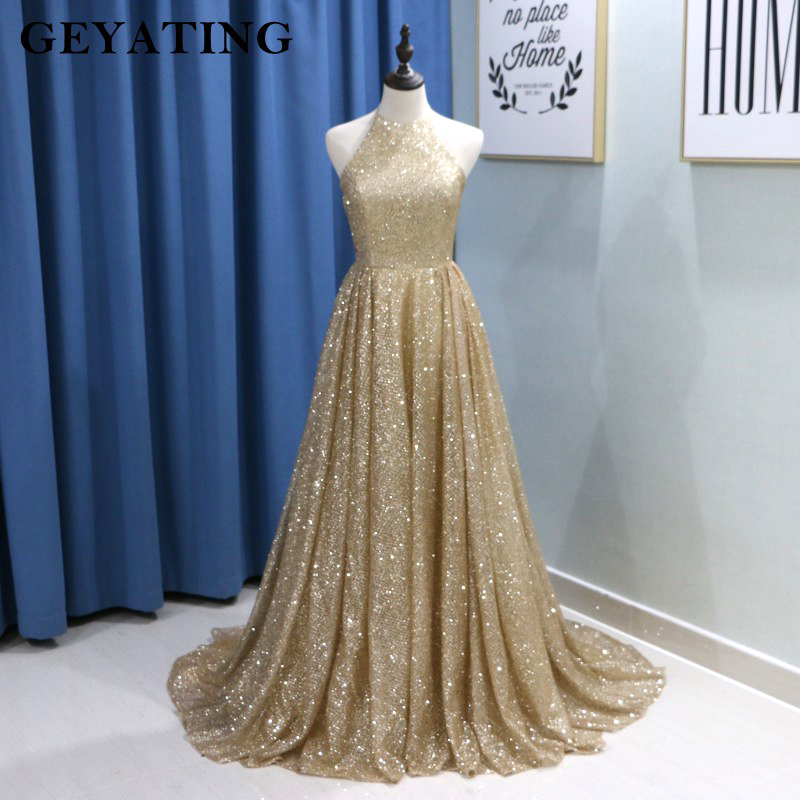 Sparkling Gold Champagne Sequin Prom Dress Dubai Halter Off Shoulder Yousef Aljasmi Arabic Women Formal Evening Dress Long 2018