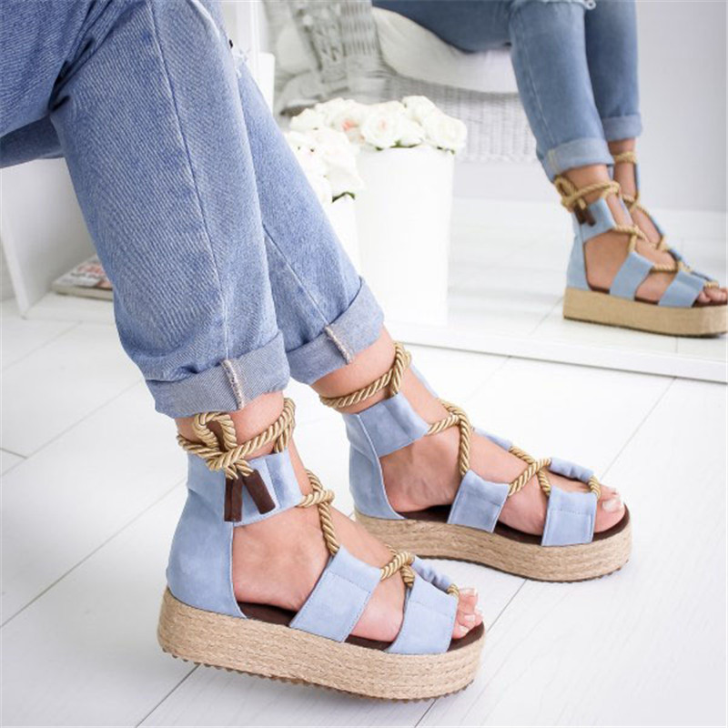 Candy Torridity Fasten Espadrilles Women Sandals Heel Pointed  Mouth Sandals Woman Hemp  Up Women  Sandals