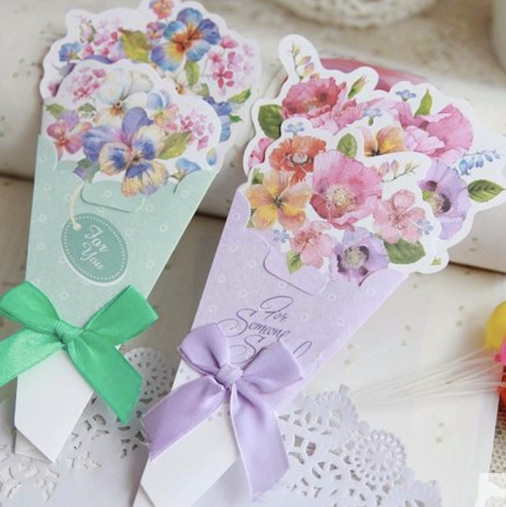 Beautiful Paper 3d Bouquet Flower Shapes Greeting Cards Envelope