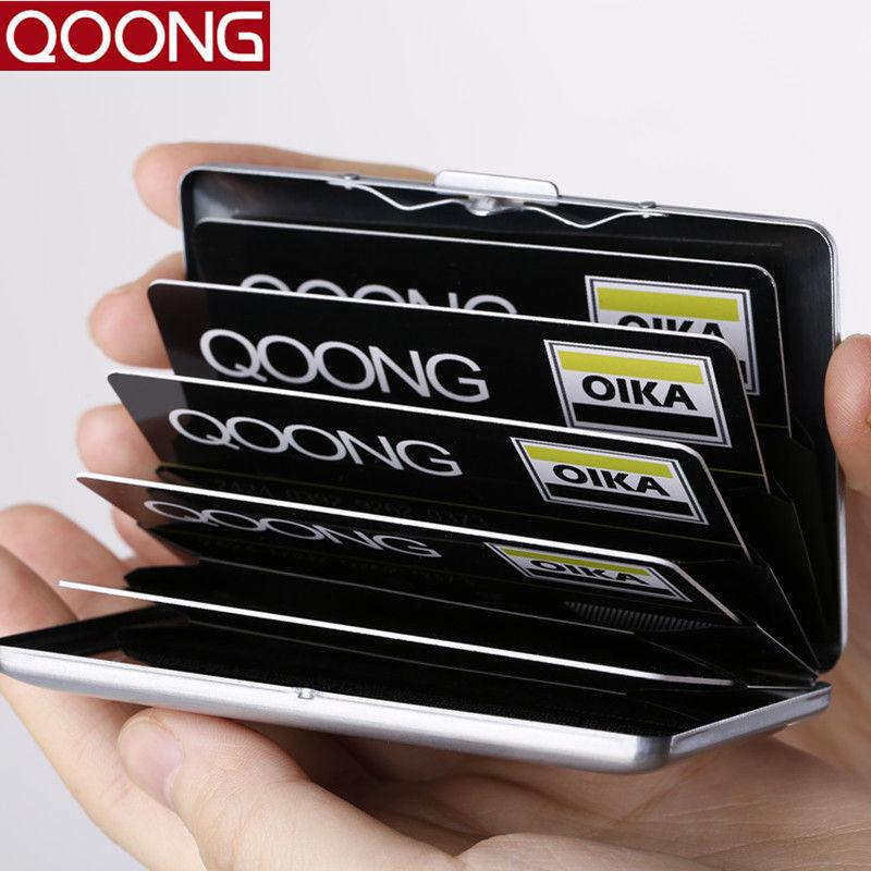 QOONG RFID Funda de viaje de tarjeta de viaje de acero inoxidable Organizador de negocios impermeable Hombres Mujeres Titular de la tarjeta de identificación de crédito Carteira 42-018