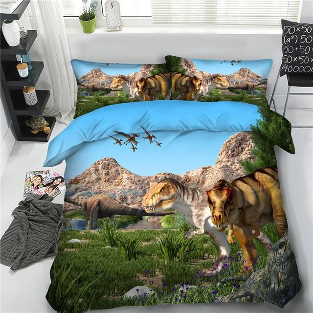 JF 570 Boys Dinosaur Bedding Set 4pcs 3d Bed Linens Single Double Queen  Super King