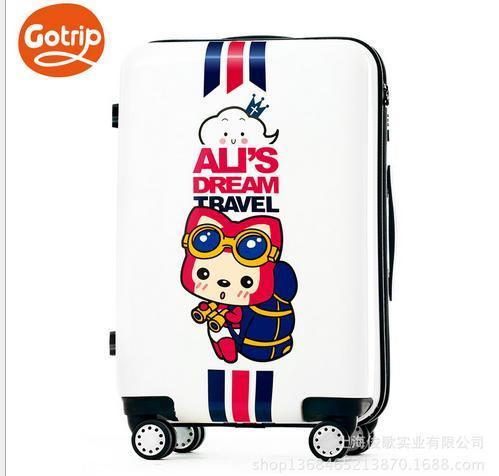 Али чемодан bavul милый мультфильм багажа счетчик жесткий корпус сумка 24 дюймов белый печатных