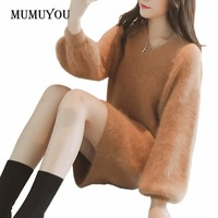 Frauen Fluffy Jumper Lange Tops Kleid Fell Langarm V-ausschnitt Warme Pullover Hauchhülse Knit Pullover 906-160