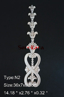 N2 -36x7x0.8cm Wood Carved Long Onlay Applique Unpainted Frame Door Decal Working Carpenter Decoration