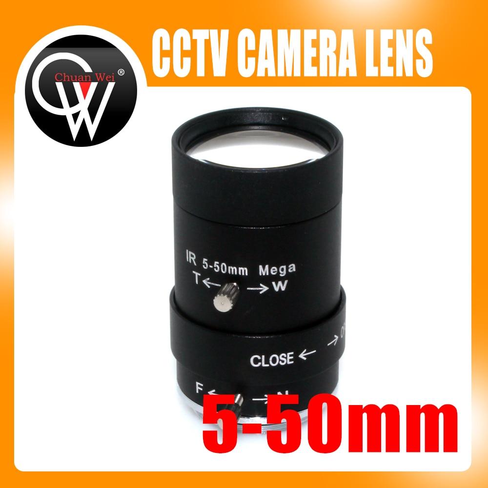MP HD 5-50mm CS lente 1/3 ir CS montaje varifocal manual Iris lente CCTV para CCTV cámaras de seguridad caja