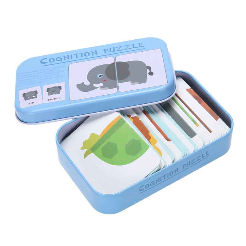 Baby Kids Cognition Puzzles Toys Toddler Iron Box Cards Matching Game Cognitive Cards Vehicl Fruit Animal Life Sets Pair Puzzles 9