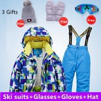Комплекты детской одежды для детей от 4 до 16 лет зимняя детская ветрозащитная Водонепроницаемая очень теплая Лыжная куртка и штаны для маль