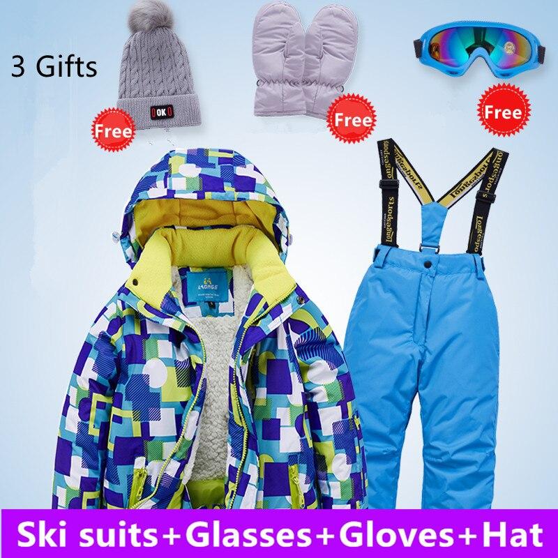 4-16 ans vêtements pour enfants hiver enfants coupe-vent imperméable Super chaud fille garçon neige Ski veste et pantalon cadeaux gratuits 5 pièces