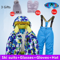 4 16year Children's Clothing Sets Winter Kids Windproof Waterproof Super Warm Girl Boy Snow Ski Jacket And Pants Gifts Free 5pcs